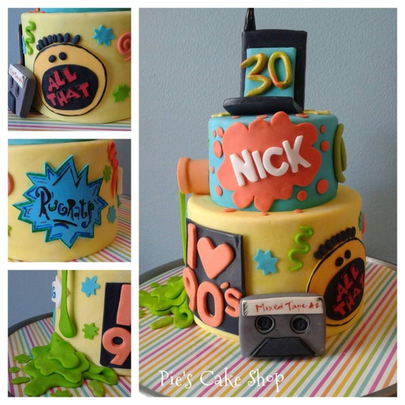 Nickelodeon i love the 90 39 s fondant cake decor all for Decoration 90s