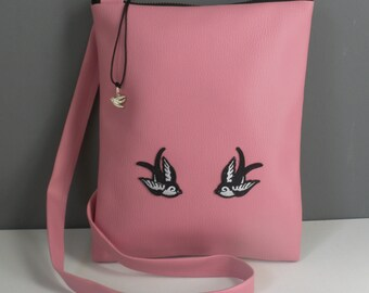 Pink vinyl Swallows bag