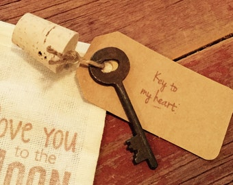 Key to my heart, 6th anniversary gift, wedding favor, iron anniversary gift, engagement gift, antique key, wedding gift, rustic wedding