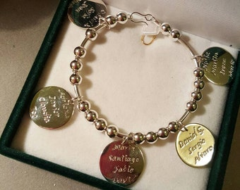 bracelet in silver to customize beads and 3 silver medals