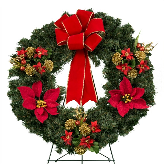 Christmas wreath with poinsettia decorations and bow for 5ft poinsettia garland christmas decoration