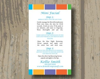 Rodan and Fields Mini Facial Cards Business Card Size PRINTED CARDS ONLY