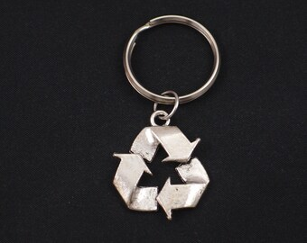 recycle symbol keychain, sterling silver filled, silver recycle symbol charm keyring, recycling key chain, save Mother Earth, Earth Day