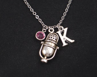microphone necklace, initial necklace, birthstone necklace, silver microphone charm, music necklace, sing, singer jewelry,microphone jewelry
