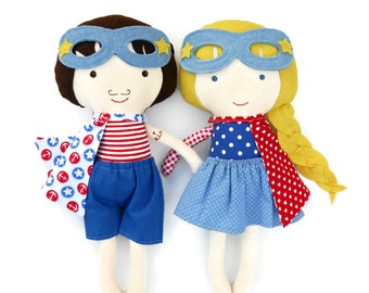 Superhero rag dolls in nautical look, toddler gift toy, sailor rag dolls, for nautical themed kids room, ideal custom gift for kids, twins