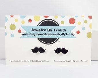 Mustache Stud Post Earrings Jewelry Black Mustache Accessories Mustache Fun Gift Idea Earrings