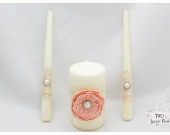 Candle Ceremony Set Of 3 Ivory Peach Candle Set Lace Wedding Unity Candle Set Bridal Taper