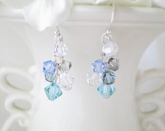 Swarovski cluster earring, Multi color crystal earring