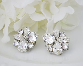 Asymmetrical rhinestone post earrings, Swarovski wedding earrings, Crystal bridal earrings