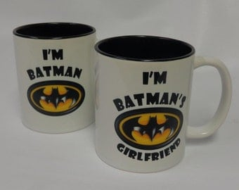 2 Personalized Super Hero Batman His and Her Mugs, For gifts, friends, loved ones, even YOURSELF!