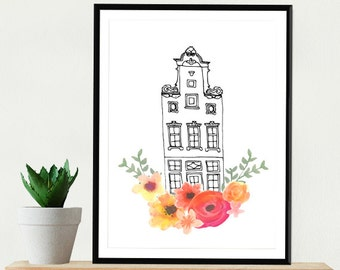 Amsterdam Print Architecture House Sweet Drawing Art Print Illustration Watercolor Travel Nordic Home Wall Decor Scandinavian Flowers Dutch