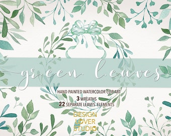 Watercolor Leaves, Laurel and Wreath, wedding clip art, watercolor clip art, hand painted, leaves, watercolour clip art