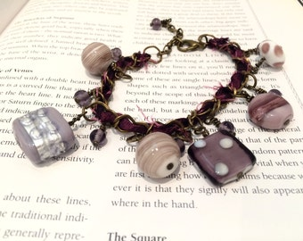 Antique Bronze Purple Pink Gypsy Boho Charm Bracelet with Taffeta and Indian Glass Beads