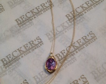 """Vintage 14k yellow gold Oval Amethyst Pendant in Ribbed Fan-Like Frame, 3.40 ct, 18"""""""
