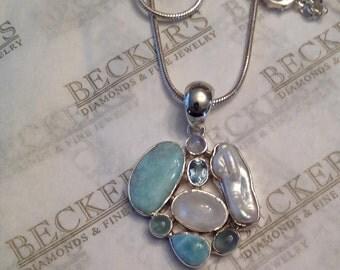 Vintage sterling silver multi-gem freeform pendant: Larimar, Moonstone, Pink Quartz, Freshwater Pearl & Aquamarine on Snake Chain