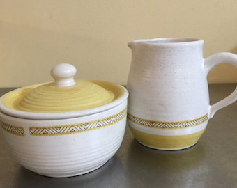 Vintage Franciscan Earthenware Hacienda Gold | Sugar Bowl and Creamer | TV Stamp | 1970s | Made in USA | Replacement Pieces | Retro Kitchen|