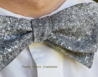 Mens Grey Bow Tie, Metallic Bow Tie, Self-Tie Bow Tie, Mens Bow Tie, Cotton Bow Tie, Mens Self Tie Bow Tie, Metallic Bowtie, Formal Wear
