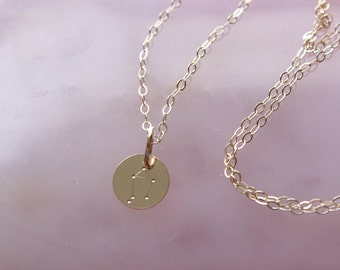 Libra zodiac constellation gold filled necklace