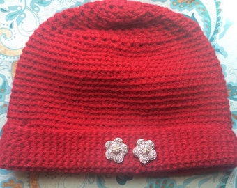 Red Crocheted Beanie with Decorative Silver Flower Buttons