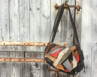 Multicoloured patchwork leather bag