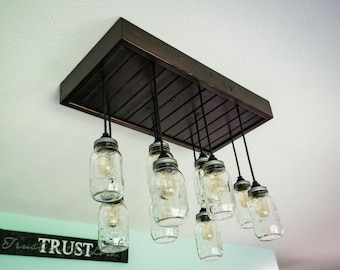 Large Mason Jar Chandelier **includes Edison bulbs!**