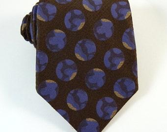 Vintage 1970s Tie WIDE Brown Purple Polka Dot Globes Yves St Laurent Necktie