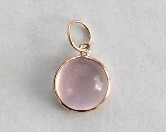 14k solid rose gold and rose quartz cabochon gemstone charm
