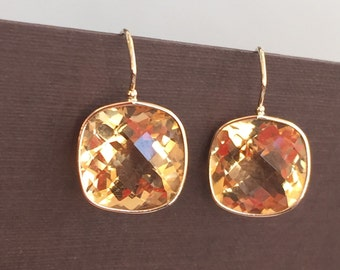 14k solid yellow gold and citrine earrings