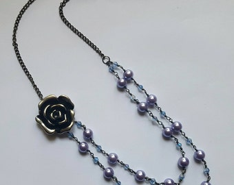 Lavender Glass Pearl Double Strand Rose Necklace