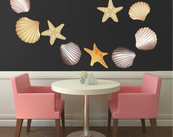 Seashell Wall Mural Design, Seashell Wall Art Sticker, Seashell Wall Decor, Seashell Wall Art Sticker, Seashell Wall Mural, Seashell Art d43