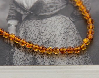 Vintage / Estate Amber Beaded Necklace, 14k Yellow Gold