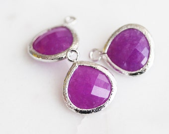 A2-002-R-MGJ] Magenta Jade / 13mm / Rhodium plated / Glass Pendant / 2 pieces