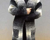 Hand knitted Black and White Ombre Boyfriend Coat Cardigan, Long Overcoat Tunic for Winter and Spring Made to Order Outwear or Outerwear