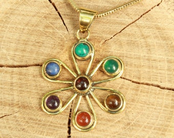 Chakra Healing Gemstone Pendant in Brass or Silver Plated