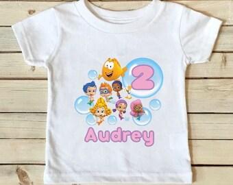Bubble Guppies Birthday Shirt- Bubble Guppies Shirt - Birthday Shirt - Girls Birthday Shirt Personalized Shirt - Custom Shirt-