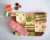 SALE- Pink and Green Wristlet with Snap Close. Handmade Patchwork Bag with Lace Pocket. Pink Lined Wristlet in polka dots and Stripes
