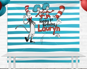 Dr Seuss Birthday Backdrop - Personalized - 8' x 6' Vinyl Banner - (Final Print is 8' x 6.6' for table backdrop)