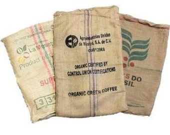 Lot of 10 (TEN) Used Coffee Bean Burlap Bags - Burlap Coffee Bags - Sack Races - Arts & Crafts - Garden / Plant Cover - Organic Recycling