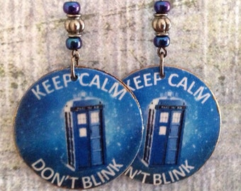 Up-cycled Dr Who Earrings, cereal box decouoage earrings