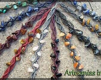 Bracelets / anklets macramé with semi-precious stones