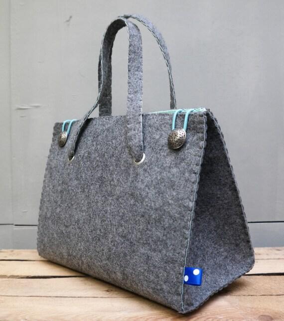 Handgemaakte Vilten Tas : Vilten handtas mint felt handbag