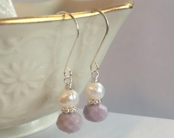 Lavender and white pearl earrings