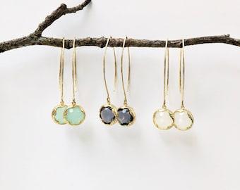 Bezeled jewel drop earrings