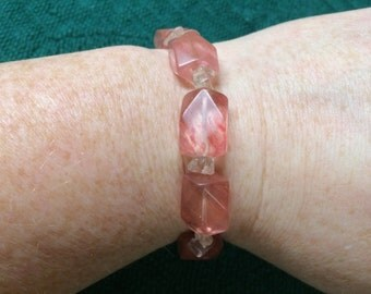 Vintage Pink Glass and Stone Stretch Bracelet, 3'' Diameter