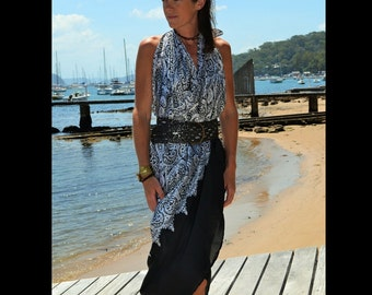 Black and white beach sarong