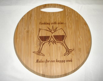 Bamboo Cutting Board Round Custom Laser Engraved Cooking With Wine Kitchen Accessories Two Toned