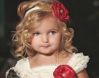 Baby headband,gold baby headband, bridal headband,flower girl headband,gold rhinestone headband,Christmas headband, Red Gold Headband.
