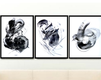 Abstract Art Prints, Triptych, Printable Wall Art, Instant Download, Black And White Art, Modern Art, abstract Art, Home Decor, wall Decor