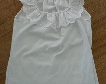 Girl's White Singlet with Lace Trim- Made to Order, Sizes 1-5