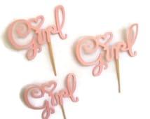 pink baby shower cupcake toppers, gender reveal, food picks, cupcake picks, donut picks, welcome baby
